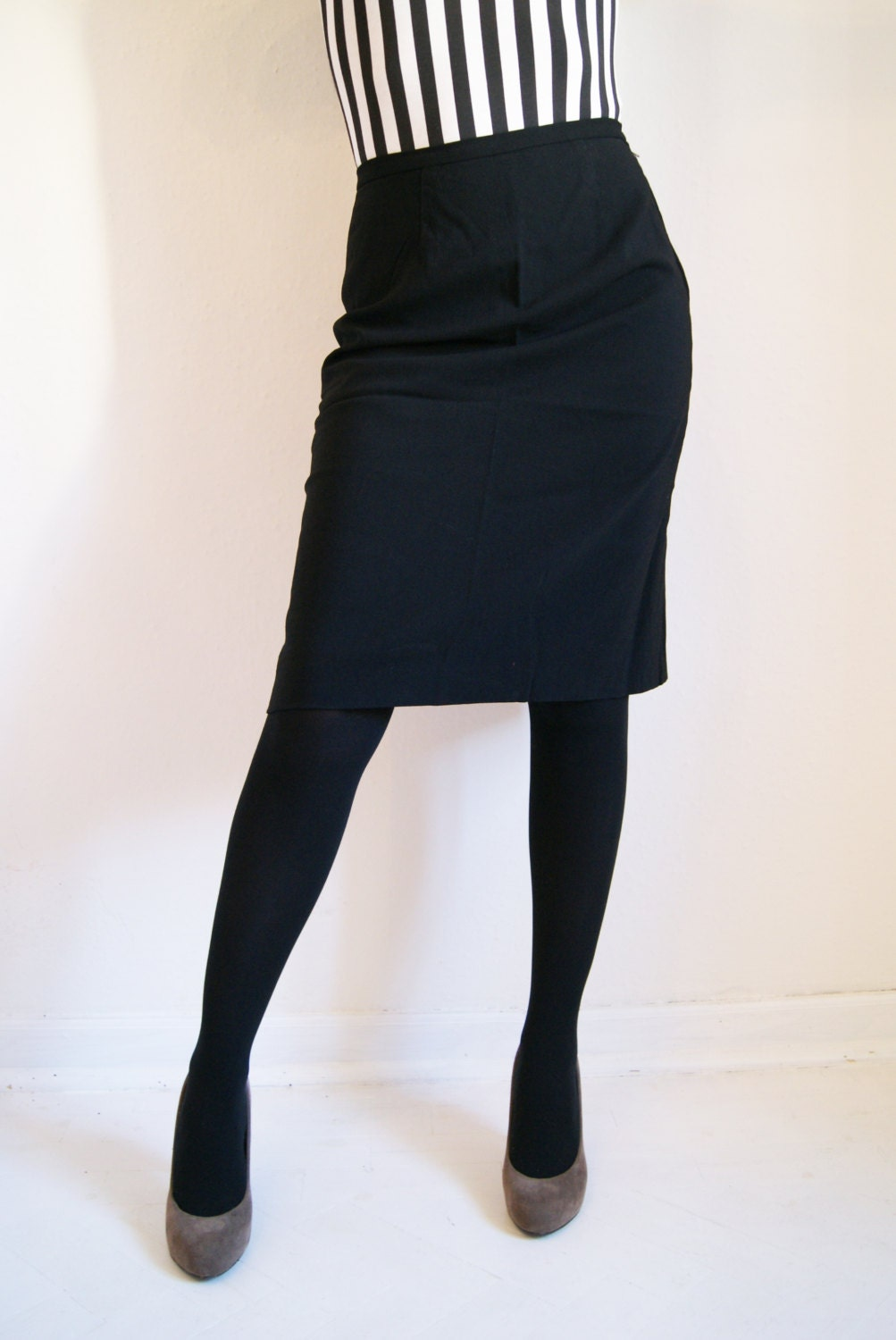 items similar to 70s above knee black pencil skirt on etsy