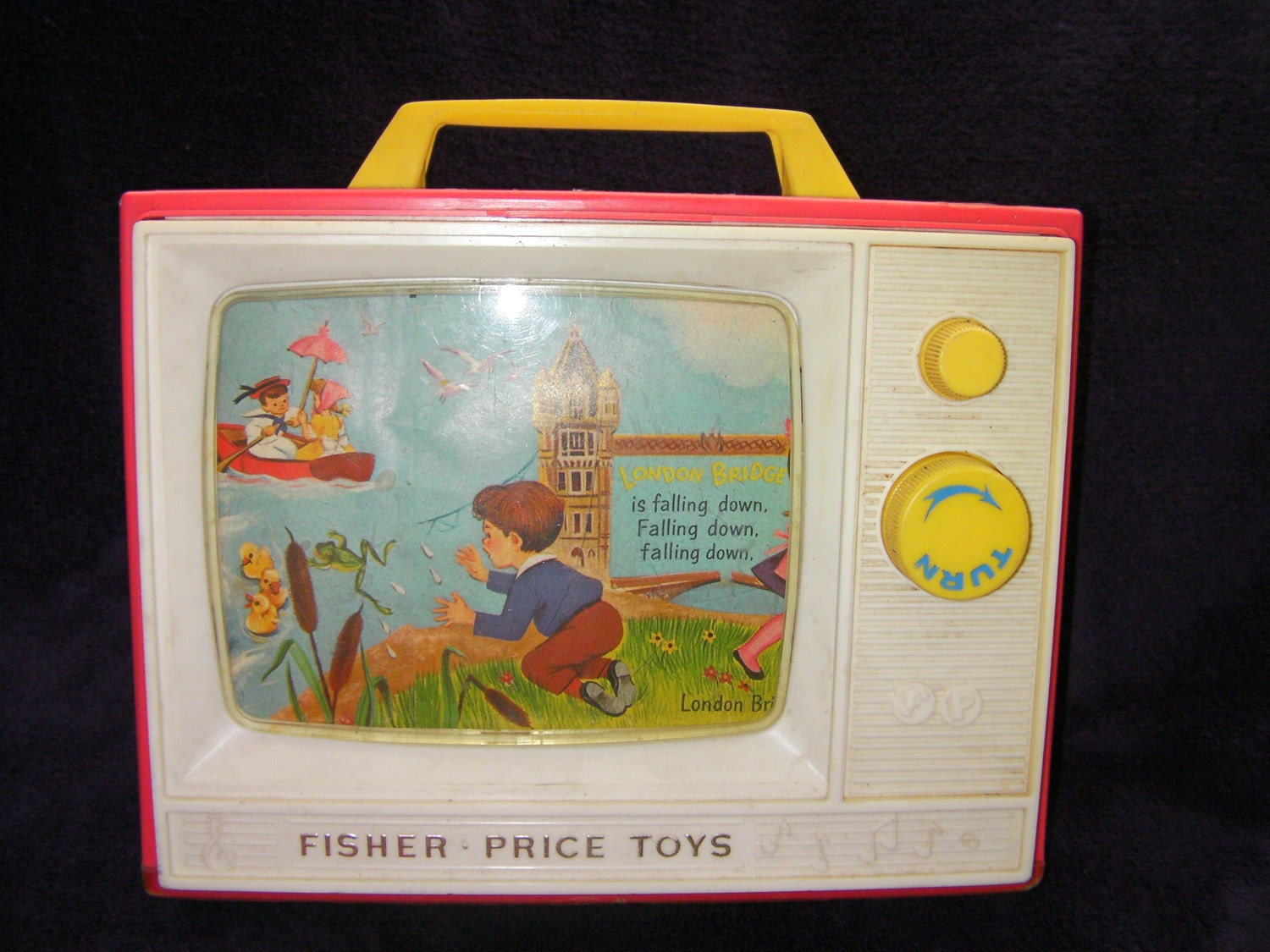 Vintage Retro Fisher Price Toys London Bridge is Falling Down TV Windup Toy TV. Musical Toy 1960s