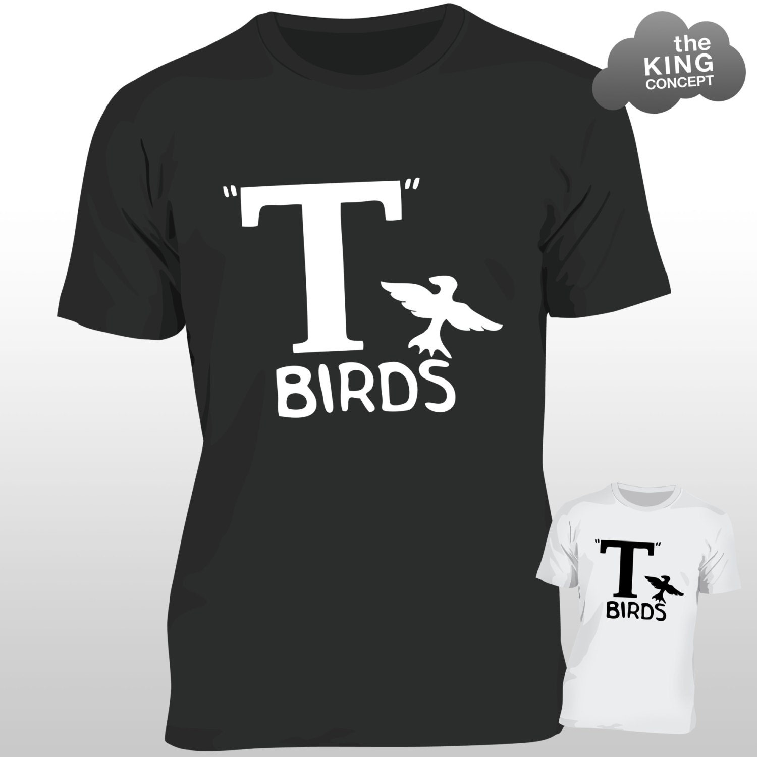 T Birds TShirt Grease Black Jacket TBird John Travolta Transfer Stag Night Mens
