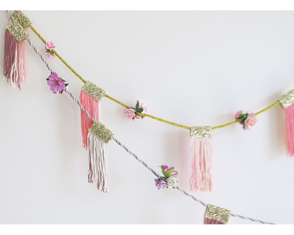 May Day Floral Fringe Garland Party Decor Home Decor By Funcult