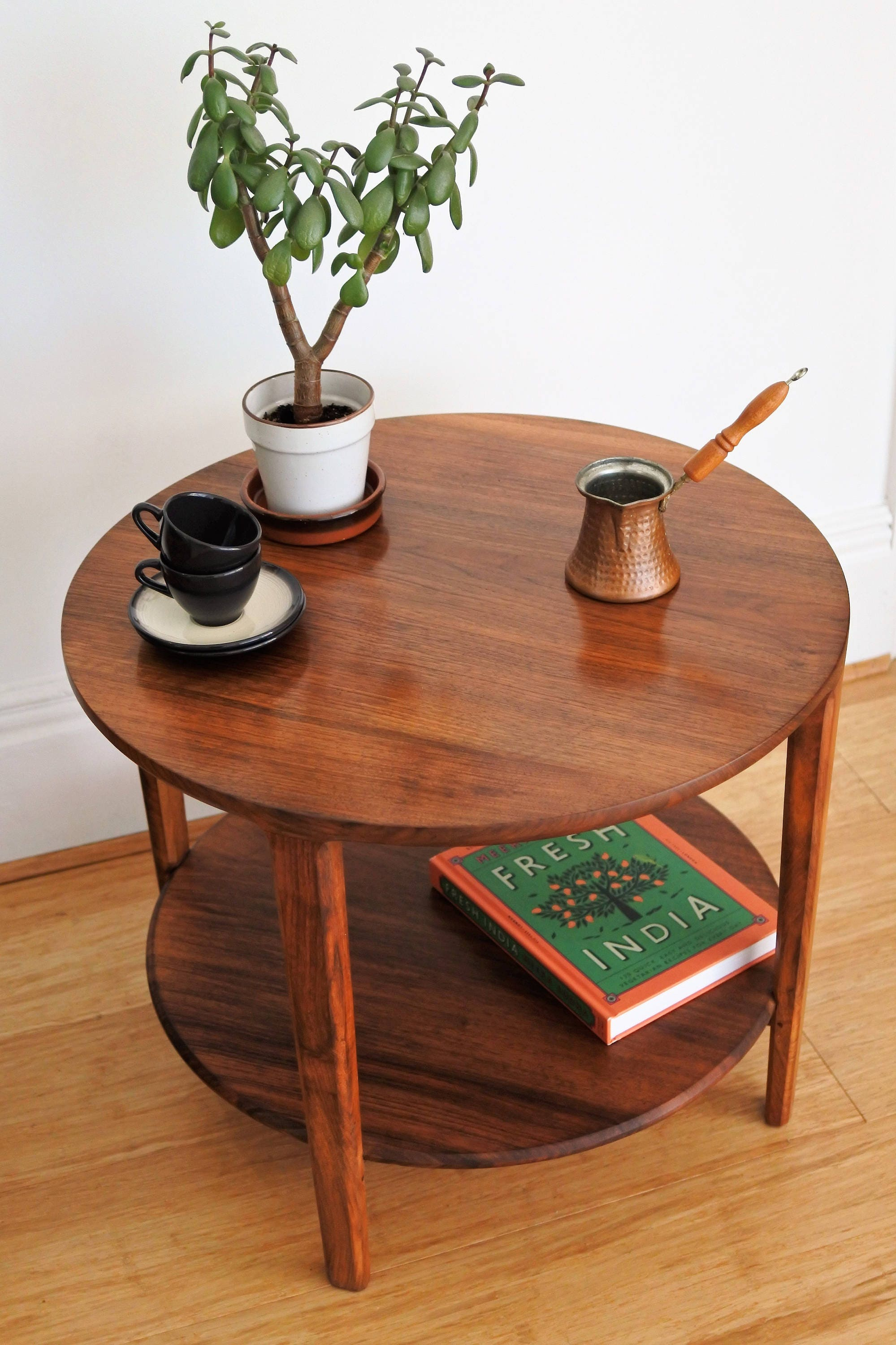 1960 Solid Teak 2 Tier Round Coffee Table.