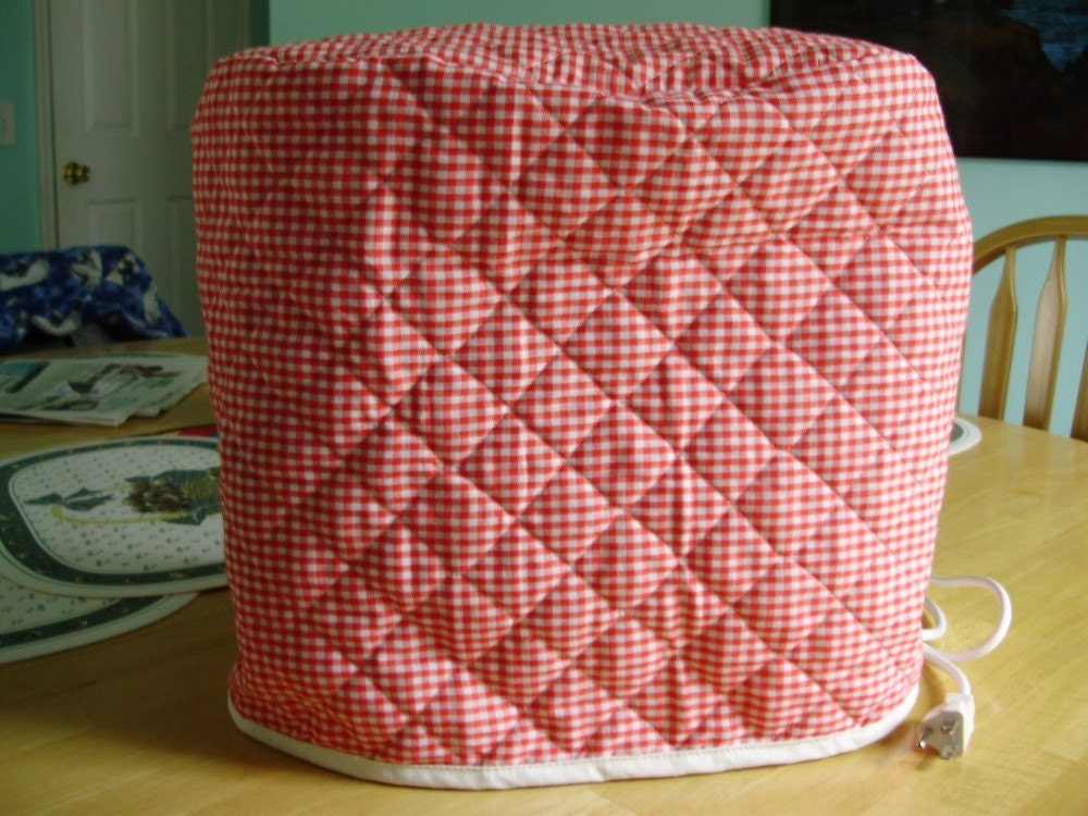 QUILTED KITCHENAID STAND MIXER COVER RED GINGHAM by