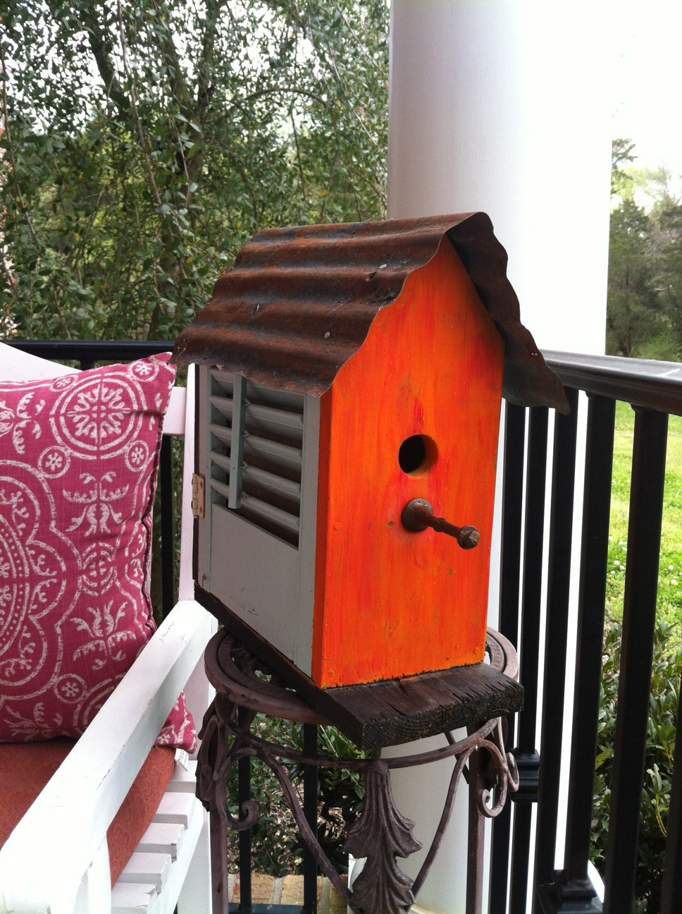 Tangerine Birdhouse with Teal Shutters Upcycled Recycled Shabby Folk Art Wood