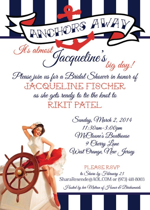 Nautical Bridal Shower Invitation - Conservative Pin-Up - Navy and Red