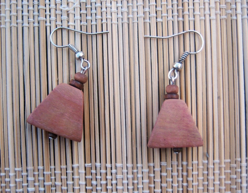 Mahogany Wood Beaded Earrings