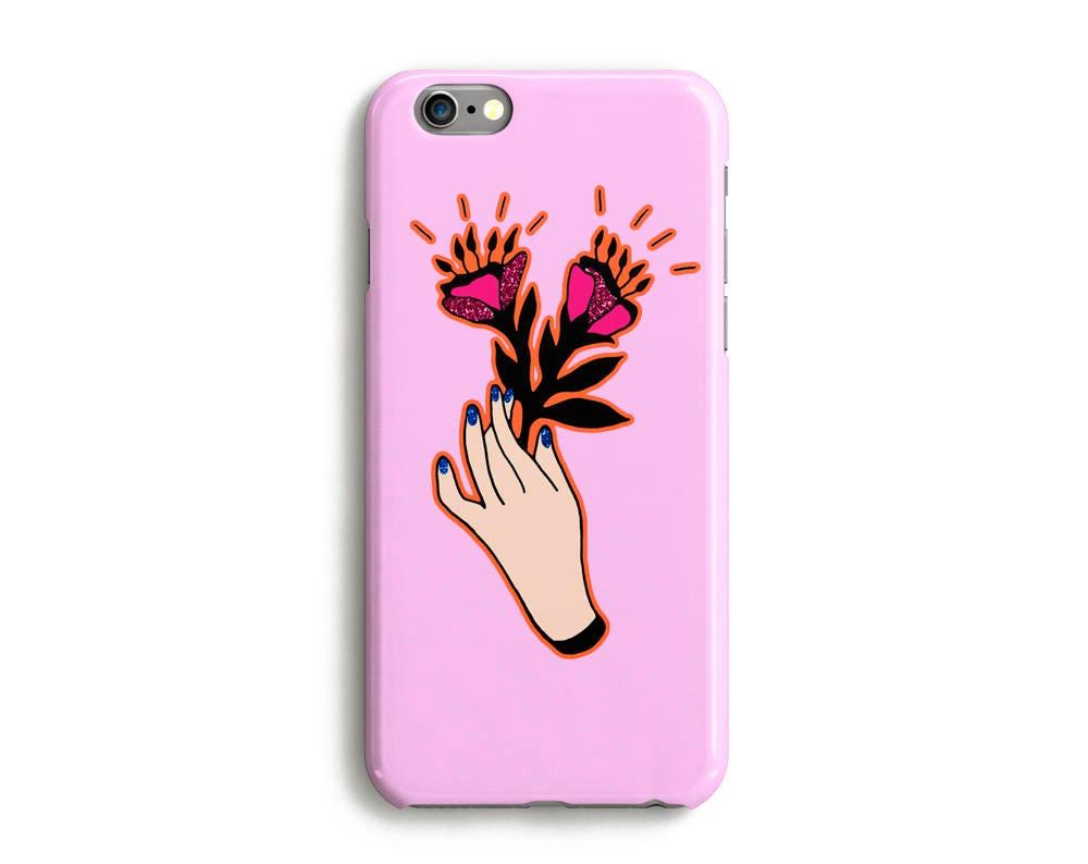 Flowers Hand Phone Case iPhone 7 6 6s Plus SE 5 5s 5c glitter floral plant phone case Samsung S8 S8 Plus Google Pixel Pink