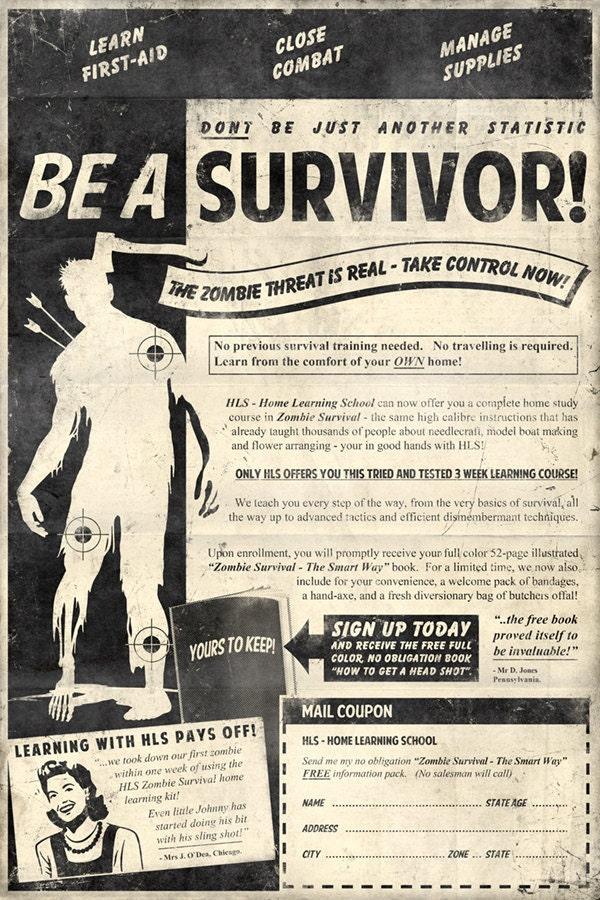 Zombie Survival 13x19 Inch Poster - DirtyGreatPixelsUK