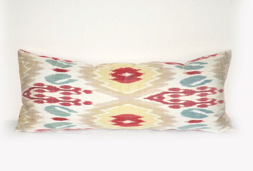 Rectangular Long Bolster Ikat pillow cover by EasternHomeDecor