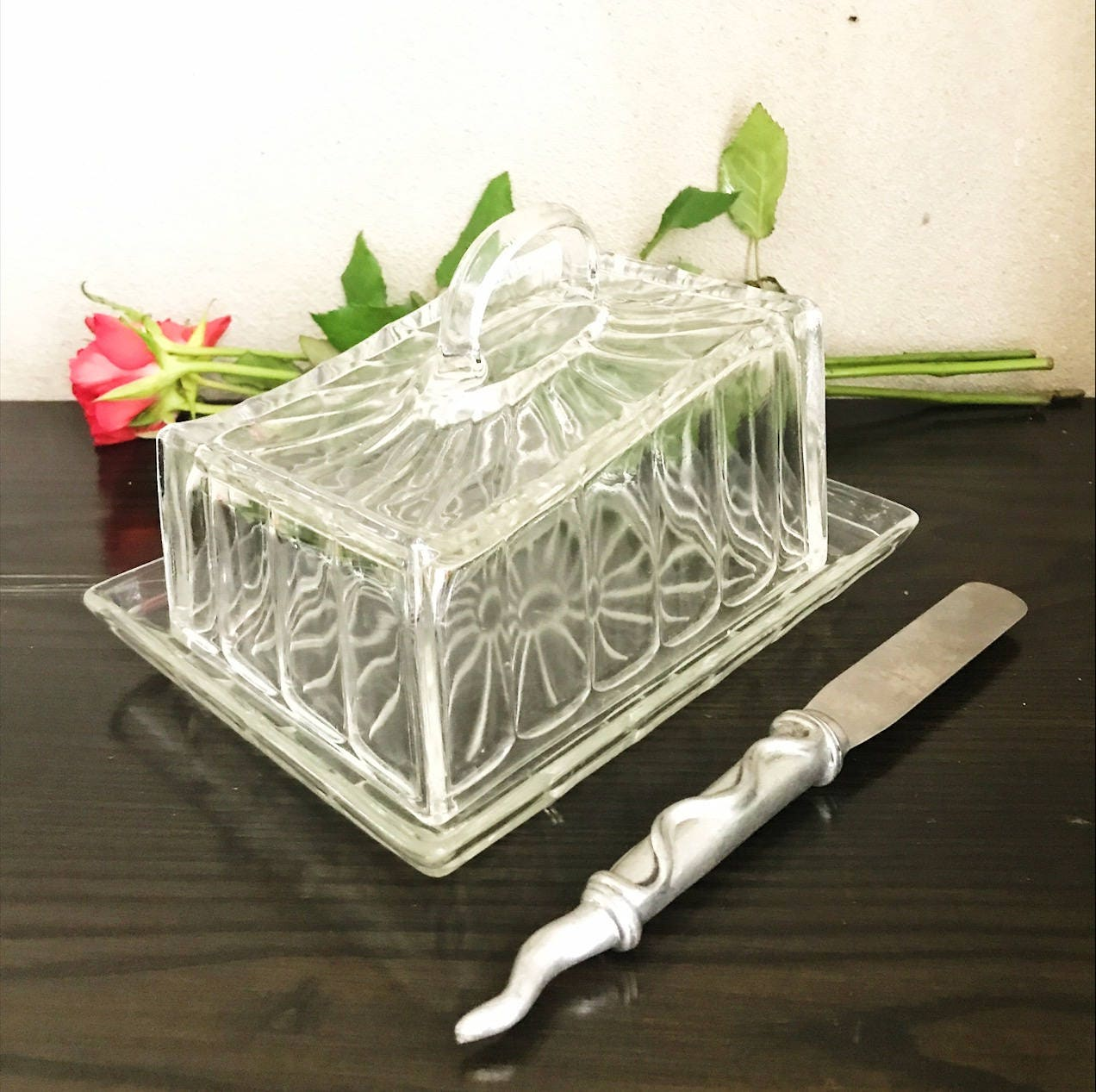 1930s vintage glass butter dishArt Deco cheese dish1930s  Art Deco HomewareGifts for herglass kitchenalia Vintage Table Centre