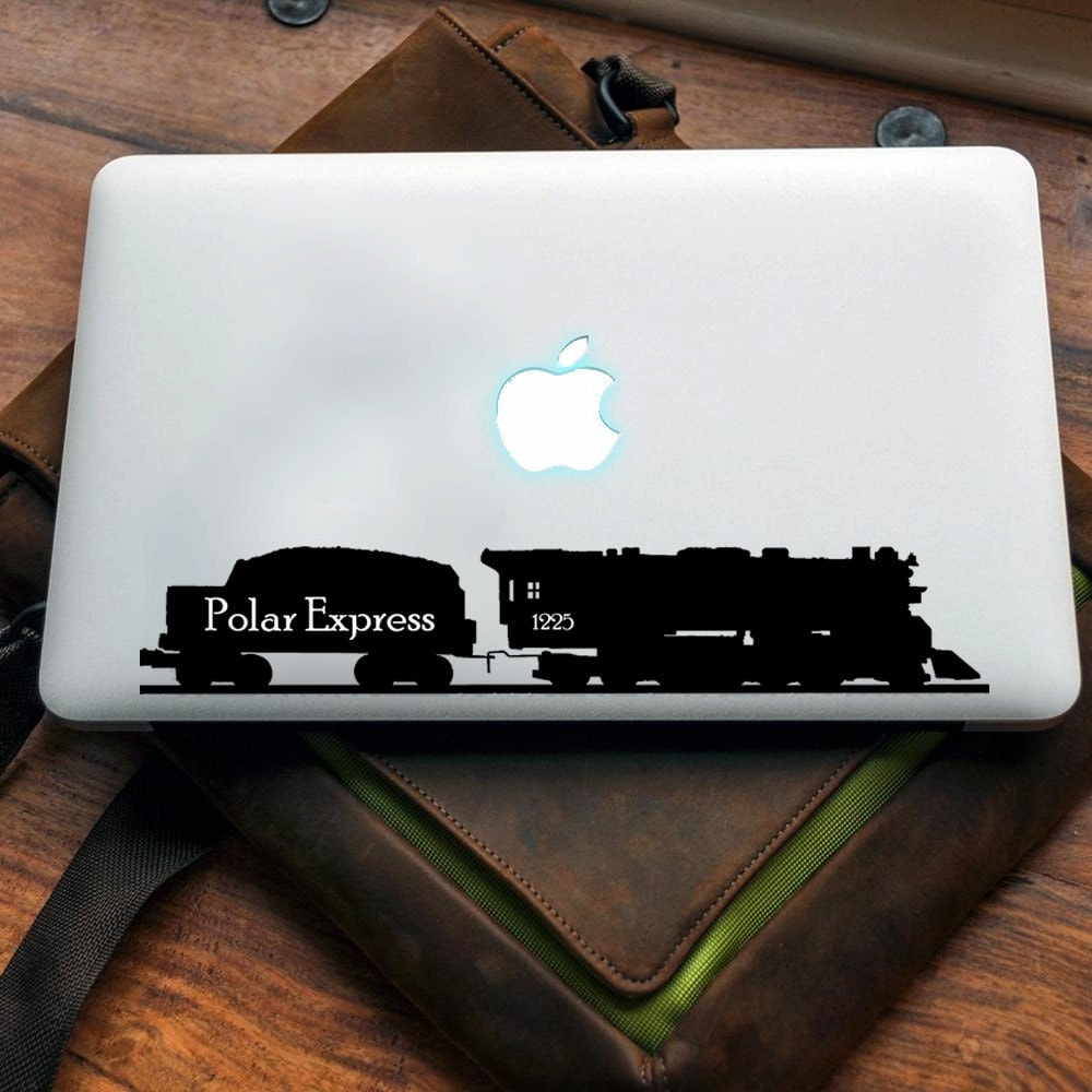 Polar Express Vinyl decal for MAC or PC sticker print perfect gift for any computer fan! Merry Christmas Gift Xmas Hat Apple (VS207)
