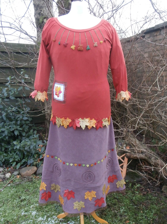 Upcycled Top  Skirt Set Autumn Leaves UK size 18  US size 14  pus Size XL Halloween Autumn Fall Woodland Flower Fairy Pixie Elf Costume