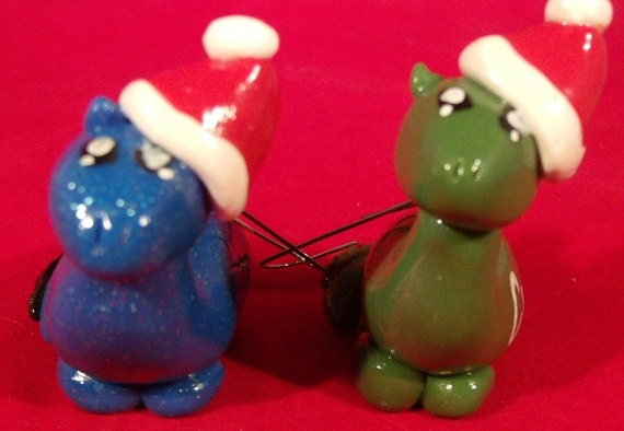Dinosaur Christmas Ornaments - Polymer Clay Long Necks - Set of 2