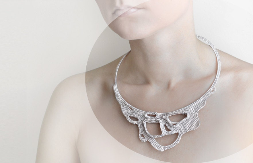 Reserved, light beige crochet lace okapi necklace, summer fashion, Paris, France, wedding necklace, Ready to ship - okapiknits