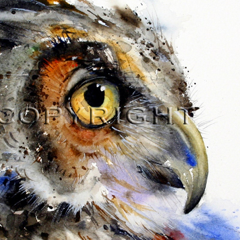 OWL Watercolor Print By Dean Crouser - See at Portland Audubon Show in November