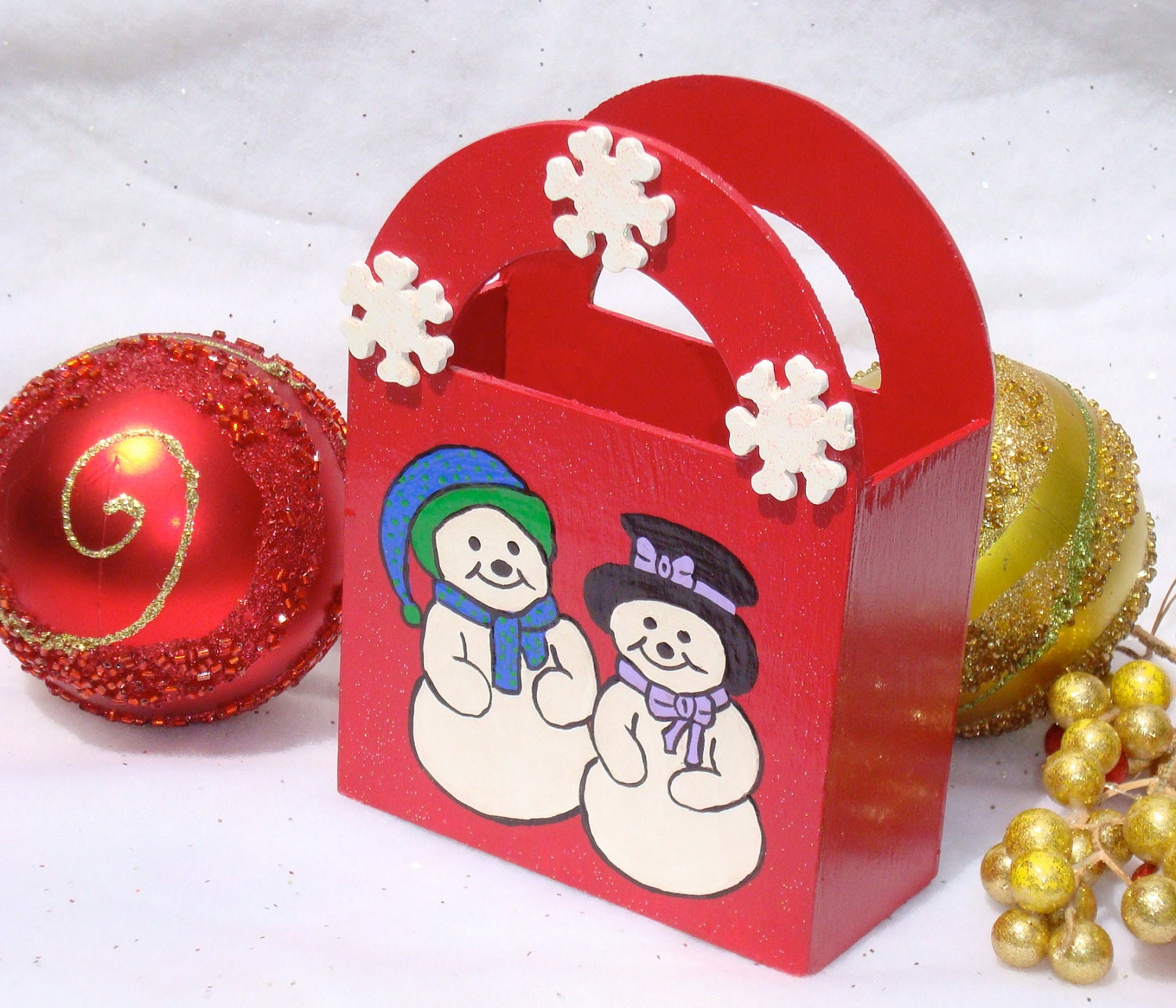 Happy Snowmen Holiday Gift Bag/ Ornament/ Decoration/ Keepsake