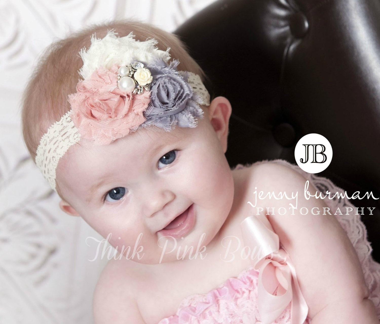 Stuning Baby Headband,Newborn Headband, Baby girl Headband,Shabby chic Headband, Christening Headband,Vintage Inspired Headband,Baby Bows. - ThinkPinkBows
