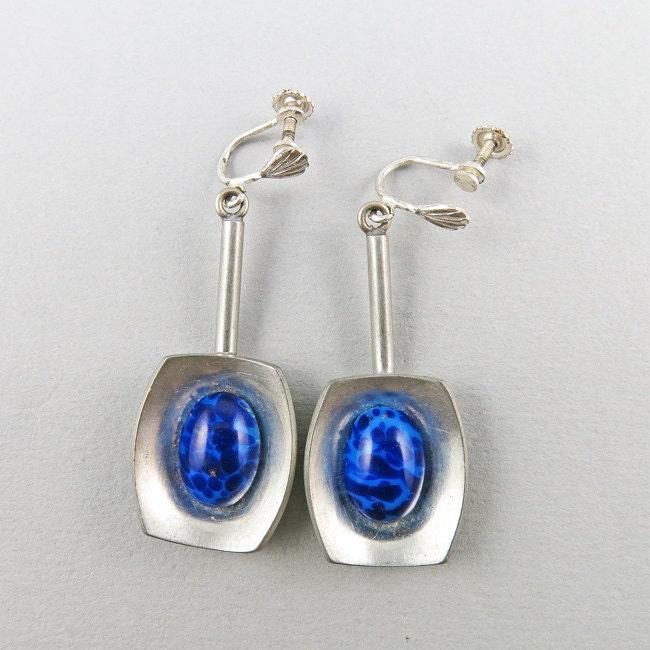 vintage jorgen jensen earrings pewter and blue by
