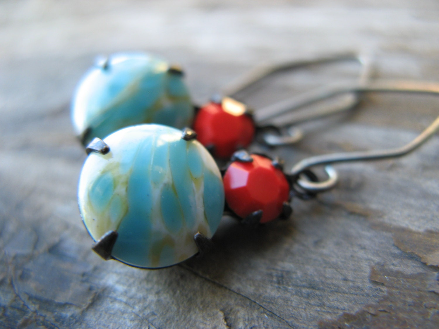 vintage glass earrings - turquoise marble and poppy red- oxidized silver - JewlLi