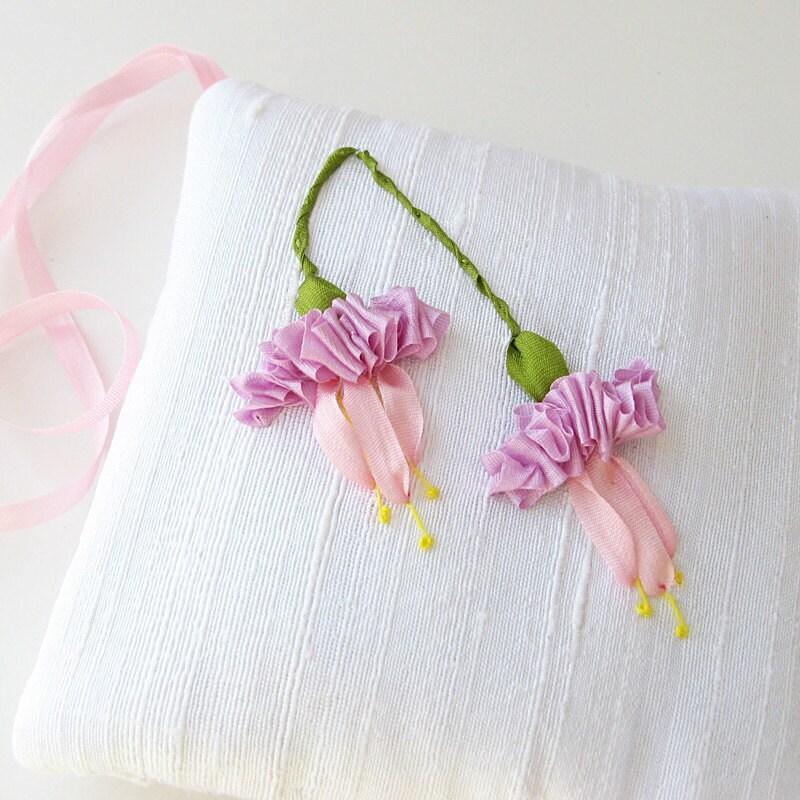 Fuchsias lavender sachet silk ribbon embroidery by bstudio