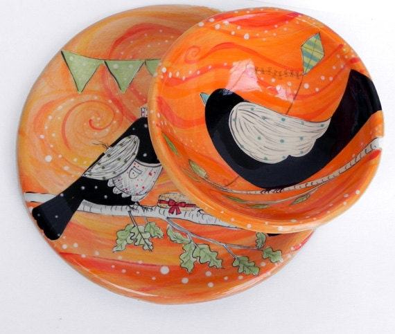 Pumpkin Orange Soup Bowl with Bird
