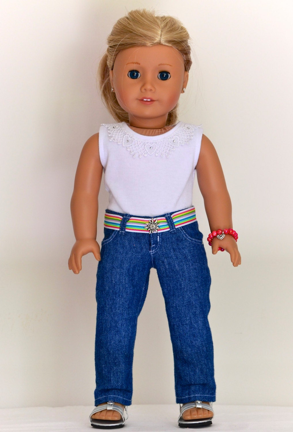 18 inch, American Girl  Doll Clothing. Low-rise Skinny Jeans with belt, Fashion Knit T-Shirt, bracelet.