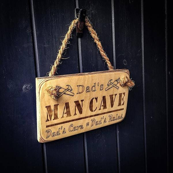 Dads Man Cave Dads Care  Dads Rules Wooden Hanging Sign