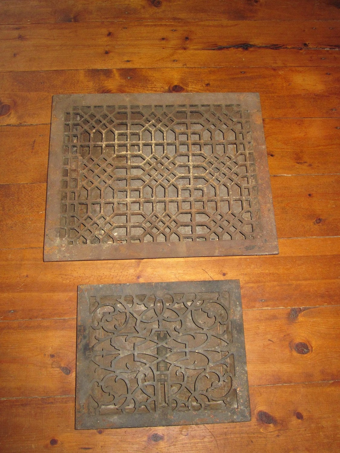 old iron vent covers floor or wall registers by vintagemementos
