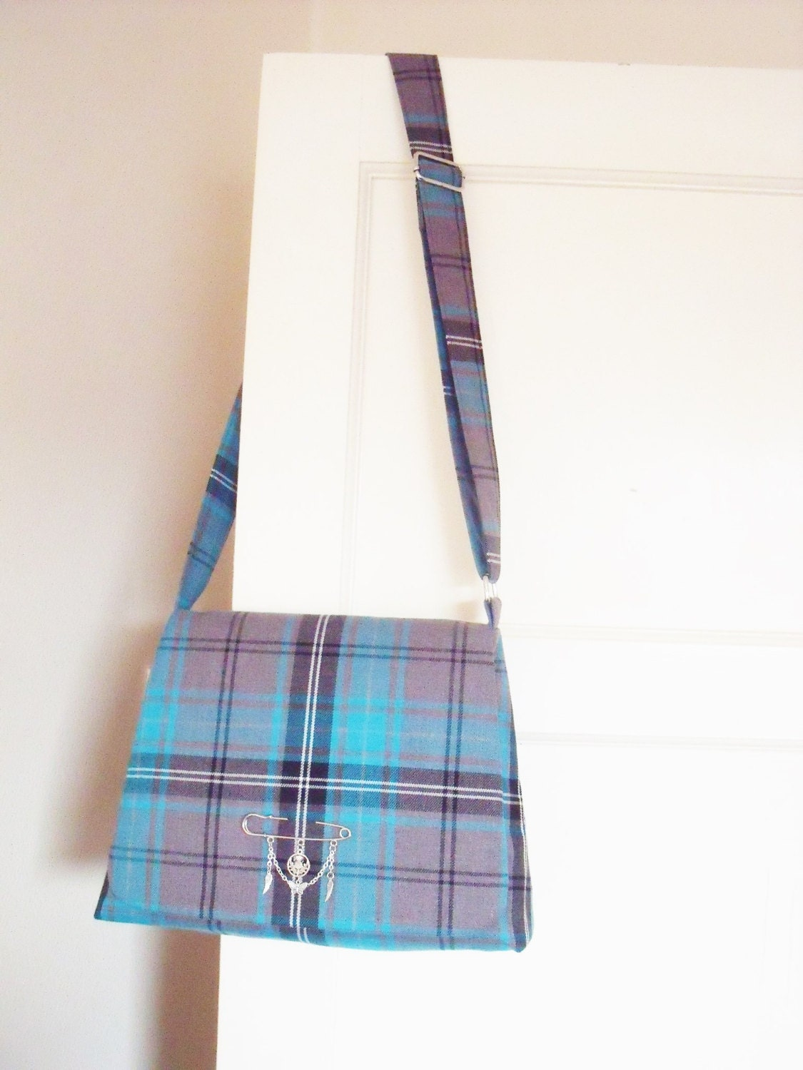 Tartan Messenger Bag in shades of Turquoise Grey  Black fabric Cross body Shoulder Bag Plaid Purse kilt pin brooch Handmade in Scotland