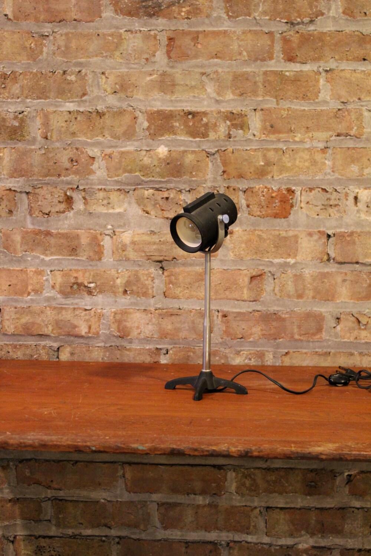 Vintage Industrial Black Leviton Stage Lighting Desk Lamp