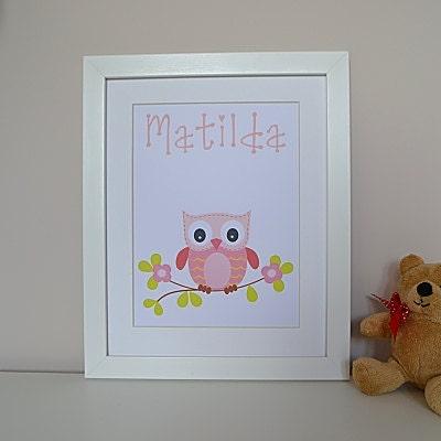 Baby girl gift personalised framed nursery print baby gift owl pink
