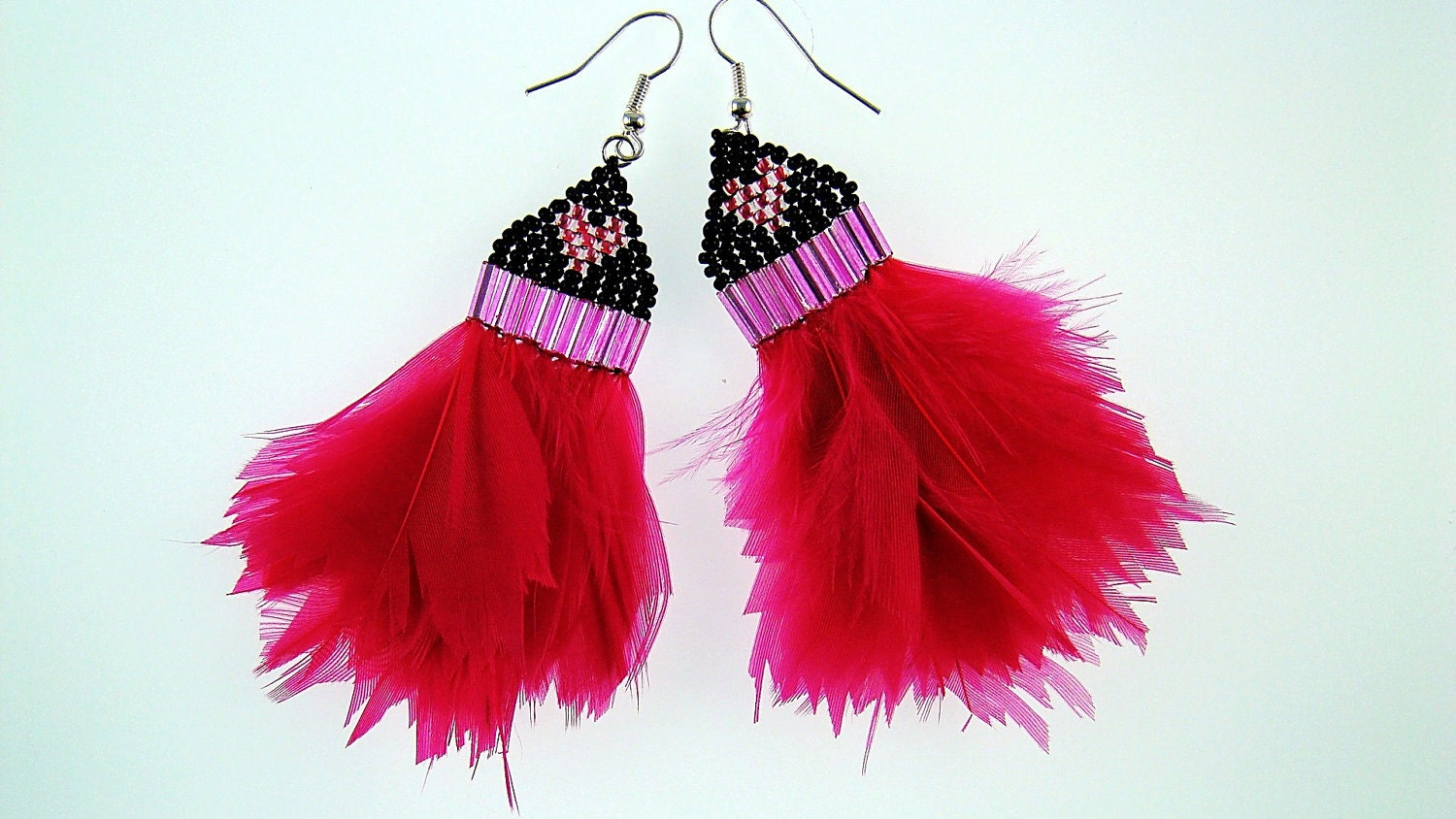 Hot pink beaded feather earrings-brick stitch