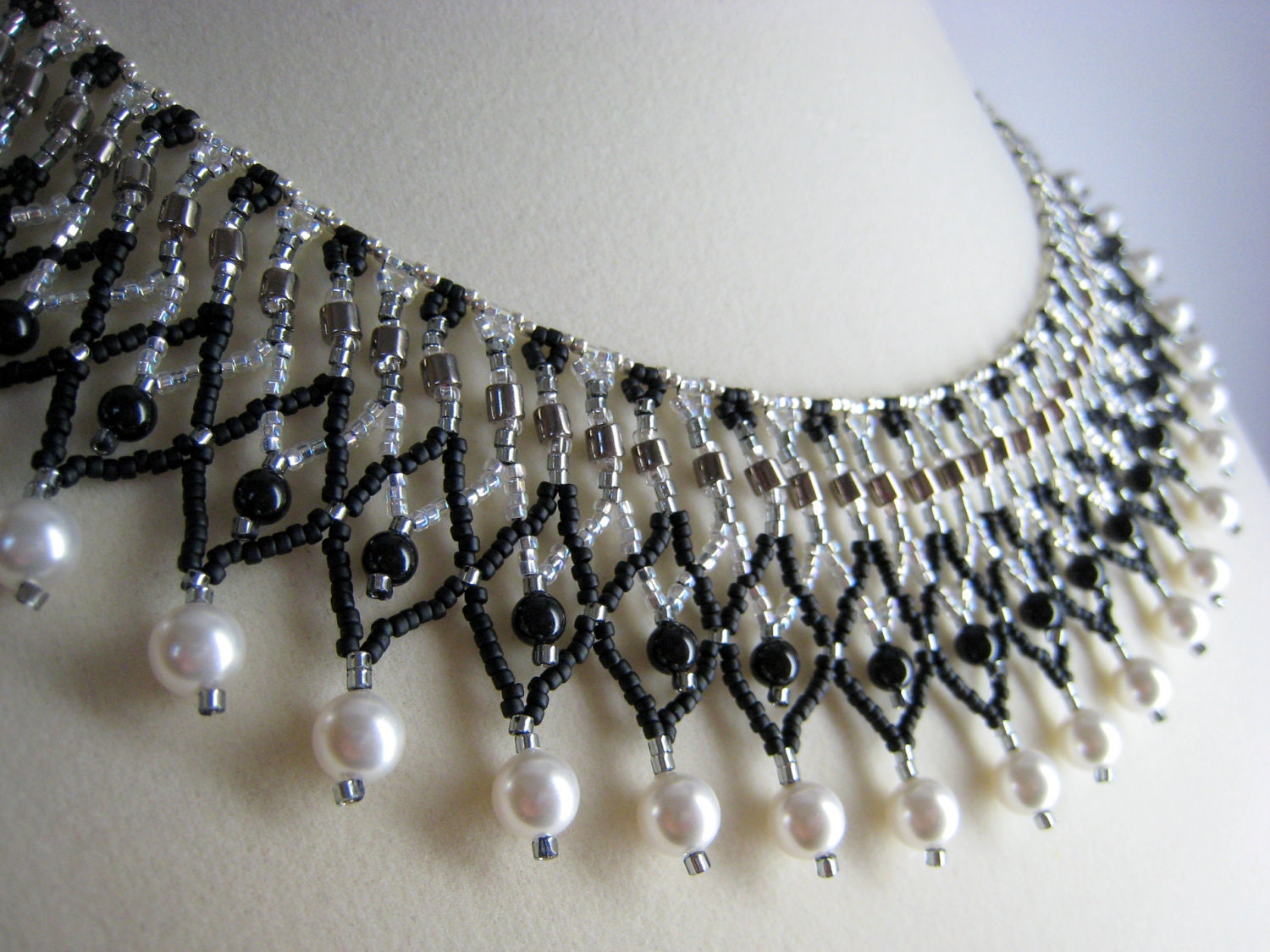 Beaded Collar Necklace, Black, White, Silver Netted Beadwork Jewelry