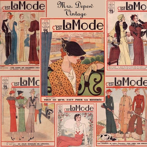 vintage french fashion magazine covers digital collage by