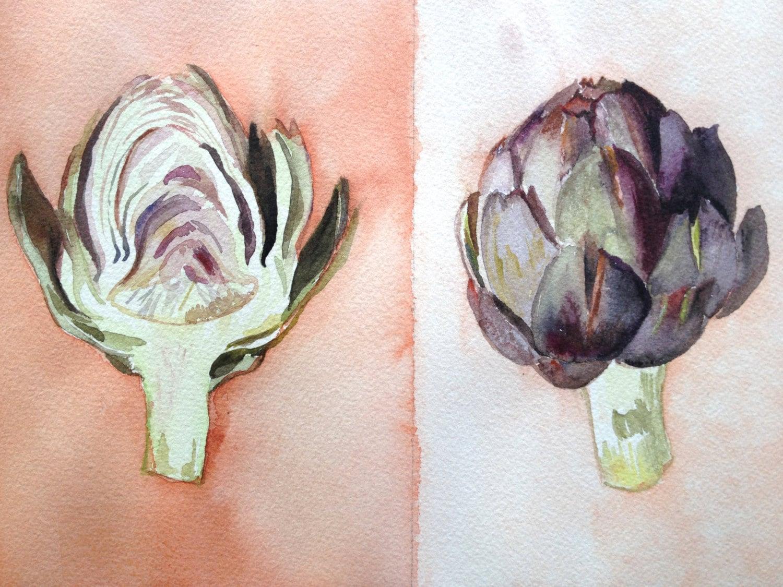 "Original 8x10"" Watercolor Painting: Artichokes"