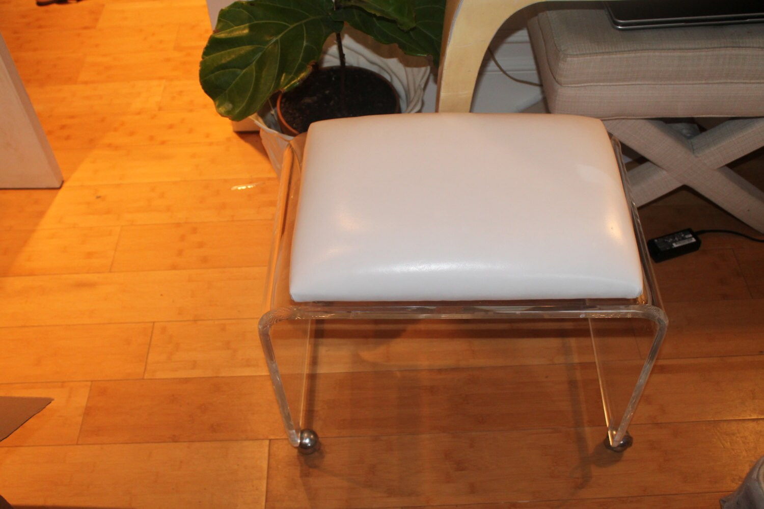 Vintage Stool Lucite Waterfall Bench Ottoman By Feelinvintage