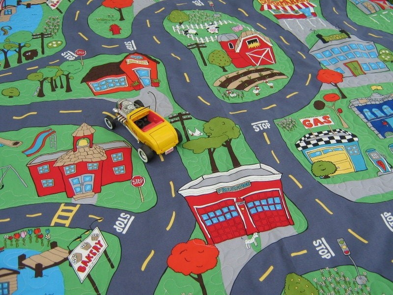 Fabric Roads For Toy Cars : Car play mat city for toy cars by bungalowquilts on etsy