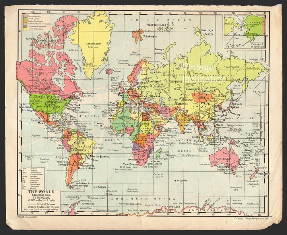 Antique WORLD Map 1950s ORIGINAL Map of the by VintageInclination