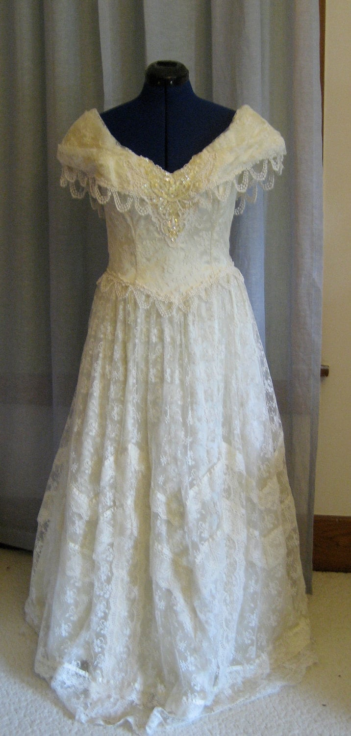 80s jessica mcclintock wedding dress by koolkatvintage on etsy for Jessica mcclintock wedding dresses outlet