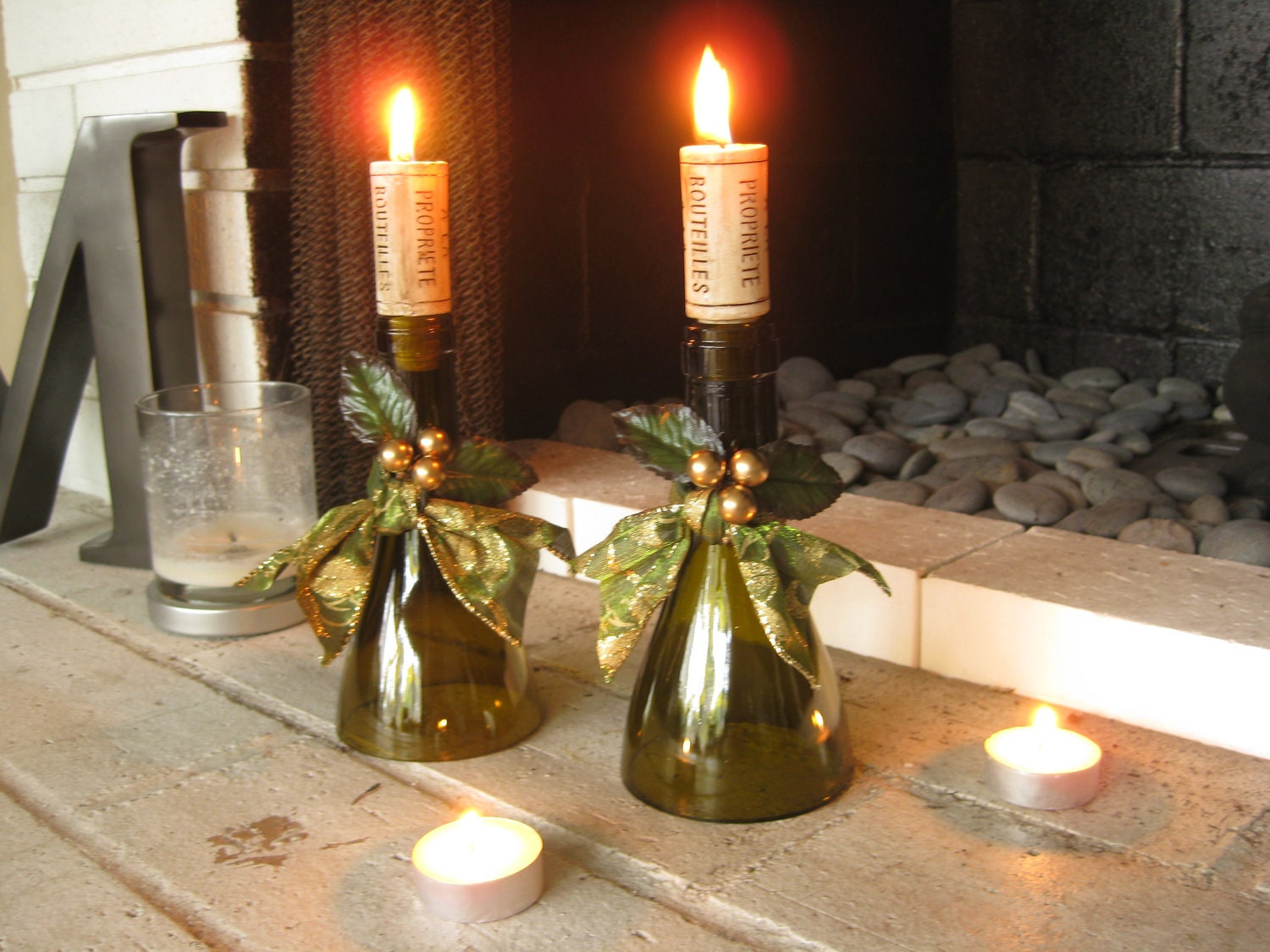 Gold and green holiday wine bottle candle holder by for Champagne bottle candle holders