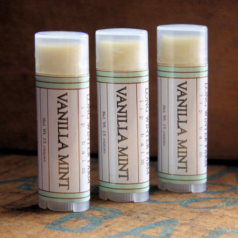 Vanilla Mint Lip Balm - One Tube Beeswax Shea Cocoa Butter Jojoba - LongWinterSoapCo