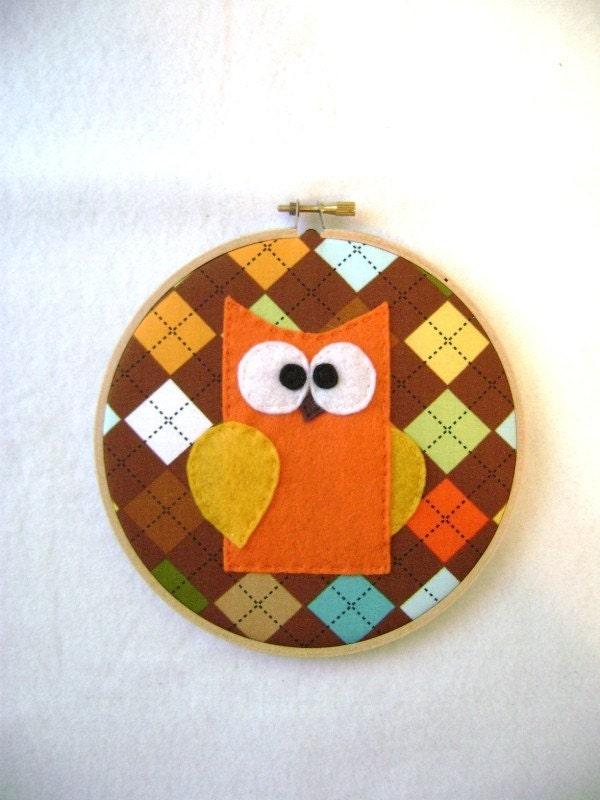 Fabric Wall Art - Sheldon the Orange Owl - Earth Tones Argyle