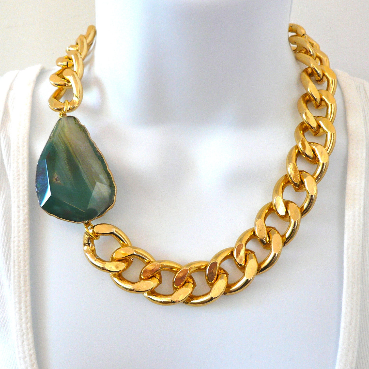 chunky gold chain link necklace with by elizabethstonejewels