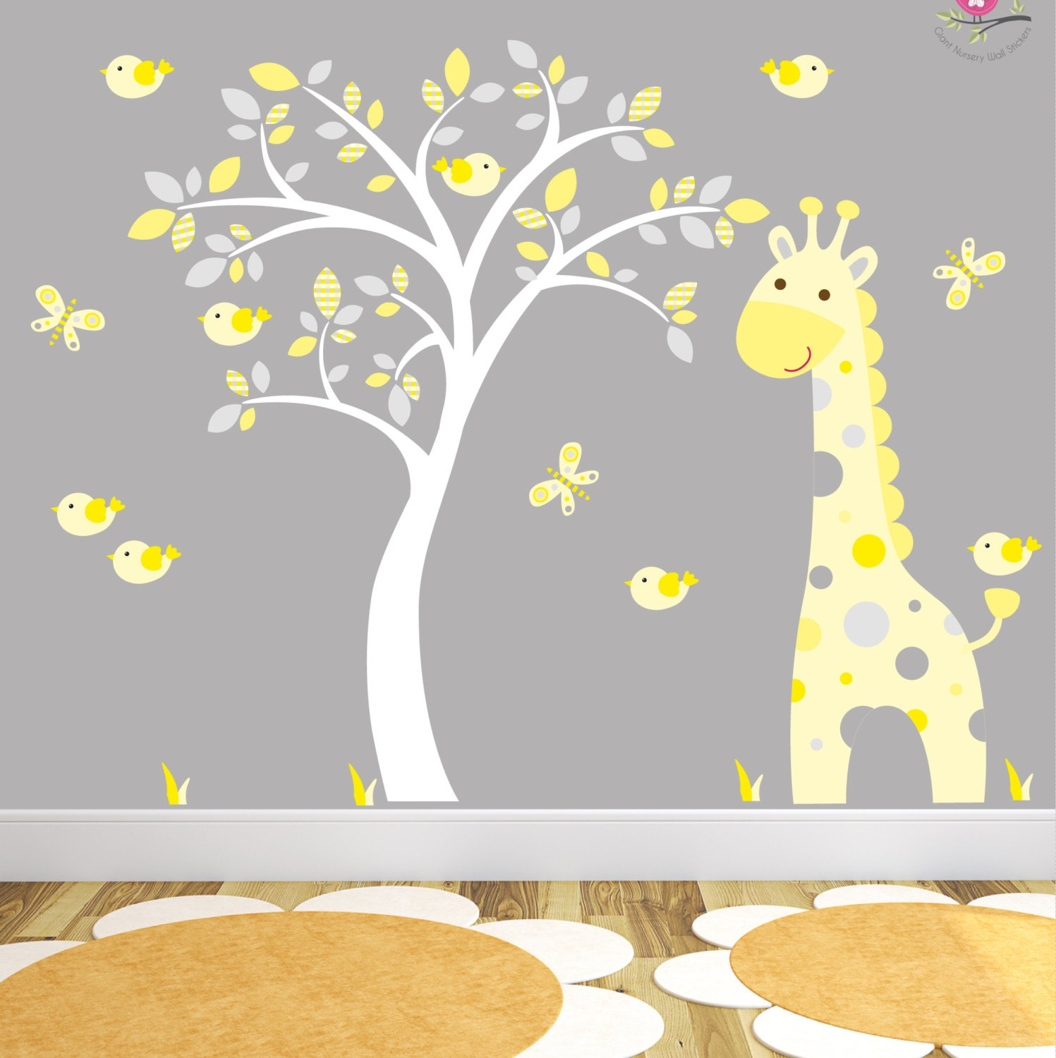 Giraffe Decal Yellow and Grey Jungle Nursery Birds and Butterlfies. Gender Neutral Wall Stickers Baby Room Decor White Tree Mural