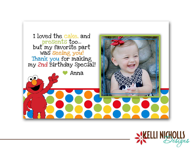 Elmo Photo Birthday Thank You Card Custom For Maryanne