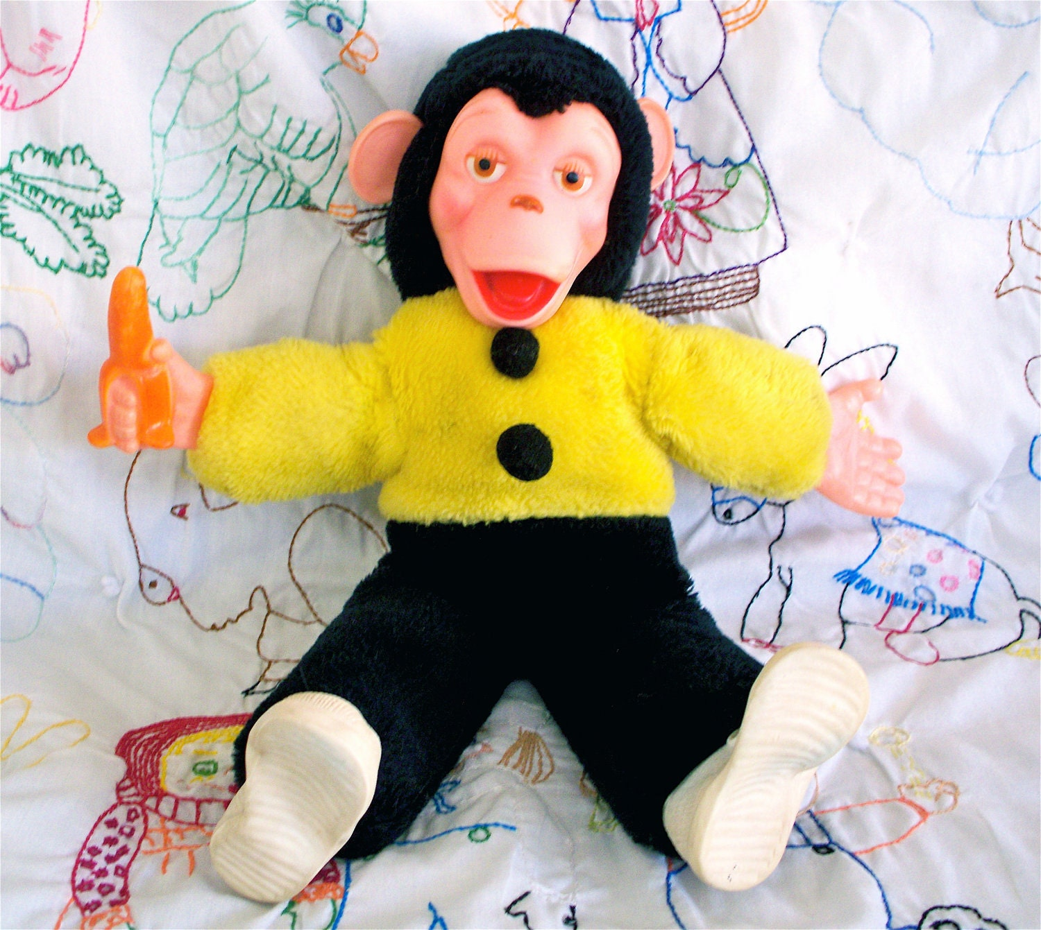 Vintage  Kitsch Howdy Doody Zippy The Monkey Vintage Chimp Doll Rubber Face Plush  Toy