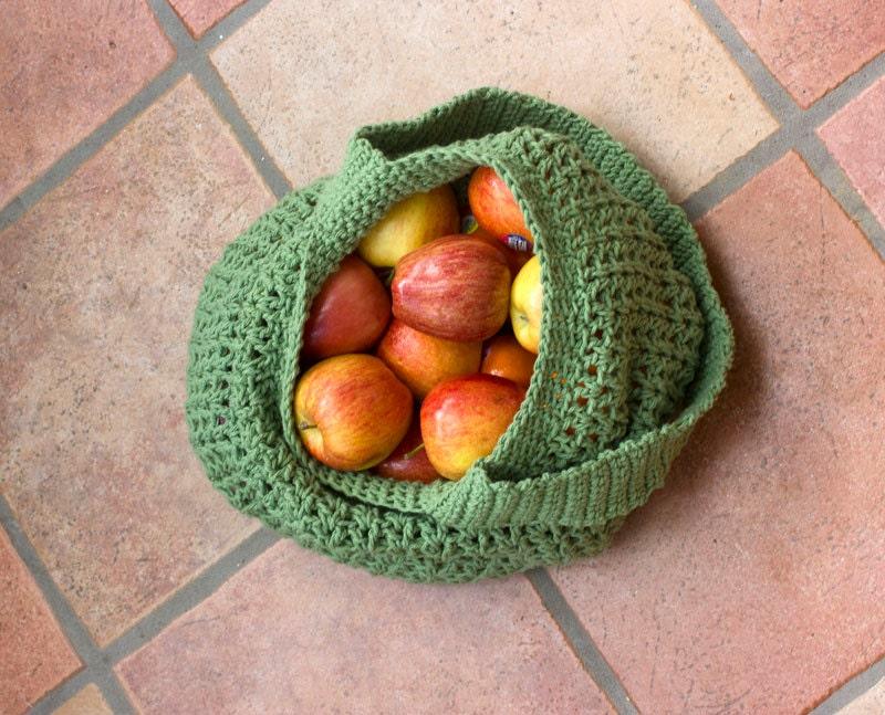 Spring Green Cotton Market Bag, Tote Bag,  Hand Crocheted,  Book Bag,  Beach Bag - beadedwire