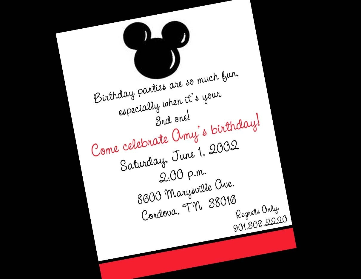 Images of Mickey Mouse Birthday Invitations - #CALTO