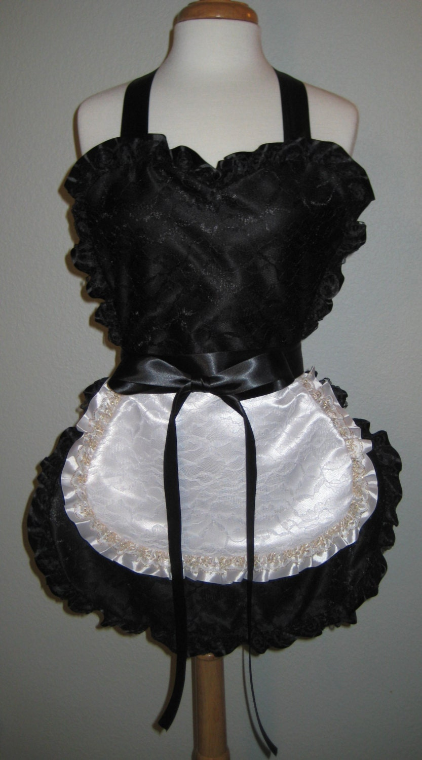 Sexy French Maid Apron in Black Satin and by ... Ruffled Satin Housemaid