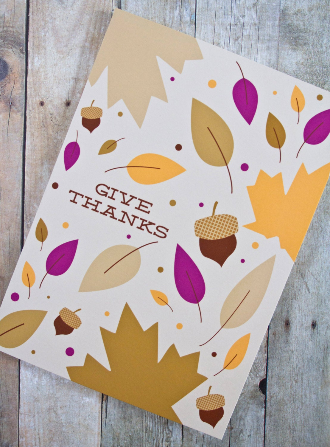 Give Thanks Fall Leaves Thanksgiving Card