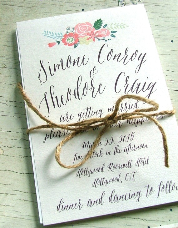Peach Wedding Invitation Modern Flower By Sweetinvitationco